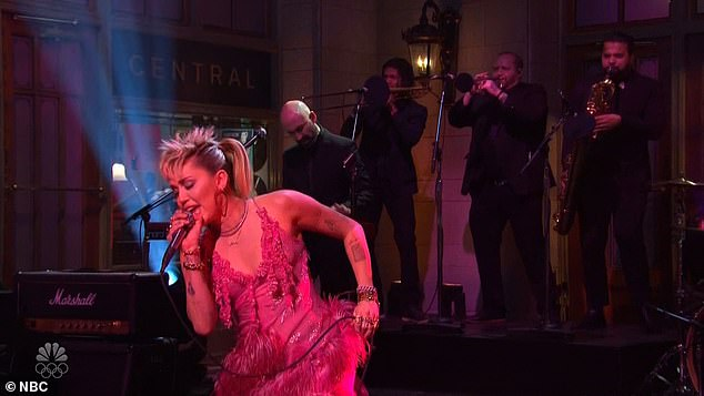 Musical guest: Saturday's episode featured Cyrus performing two songs, including the eponymous track from his latest album Plastic Hearts