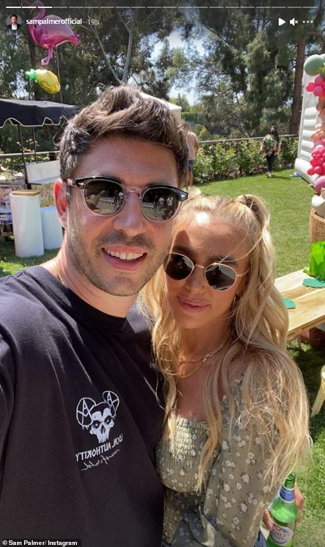 Loved it: Sam enthusiastically shared snaps and videos of the day on Instagram, posting an adorable selfie with his fiancee Petra, 32