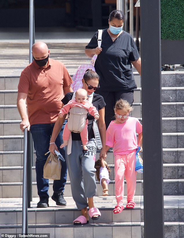 Outside: Tamara Ecclestone spent some quality time with her two daughters Sophia, seven, and Serena, nine months, as she went on a shopping spree in Los Angeles