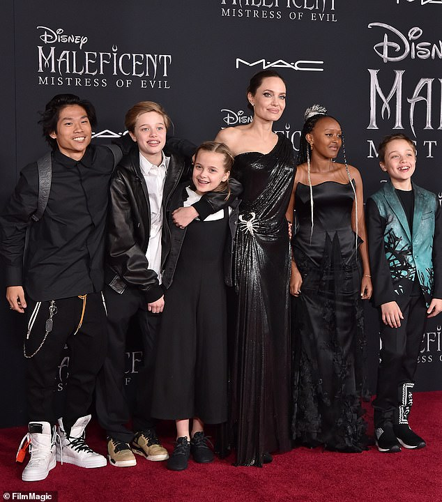 Family: The Tomb Raider actress shares Maddox, 19, Pax, 17, Zahara, 16, Shiloh, 14, and twins Knox and Vivienne, 12, with ex Brad Pitt, 57.