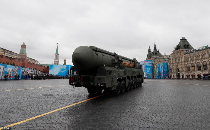 epa09186878 Russian Yars intercontinental ballistic missile launcher participates in the Victory Day military parade in Red Square in Moscow, Russia on May 9, 2021. Russia holds its Victory Day parade every year on May 09 to mark the surrender of Nazi Germany in 1945. EPA / YURI KOCHETKOV