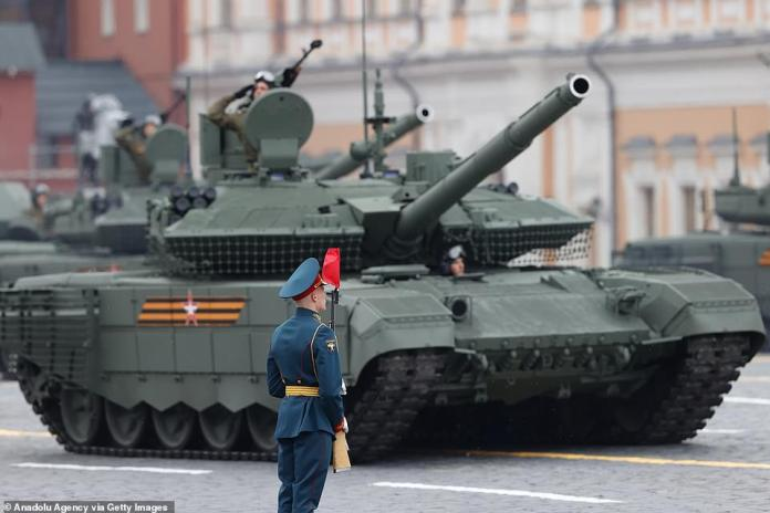 Armored vehicles take part in the military parade on the 76th anniversary of Victory Day in Red Square in Moscow, Russia, May 9