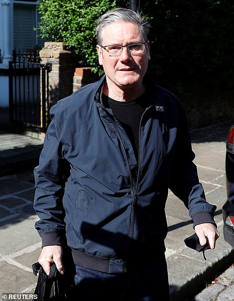 Sir Keir ignored questions from reporters as he was driven away from his north London home this morning
