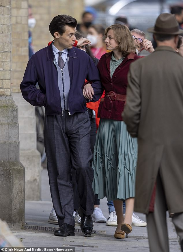 On location: Harry Styles and Emma Corrin donned their best 1950s outfits as they continued to film gay romantic drama My Policeman in Brighton on Sunday