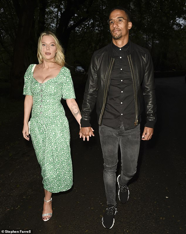 Hand in Hand: Her stunning mom Helen Flanagan enjoyed a rare night away from her kids on Saturday as she stepped out for a romantic dinner with her fiance Scott Sinclair