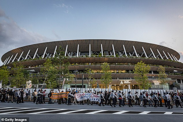 An organised march continued around the stadium as the protest gathered momentum