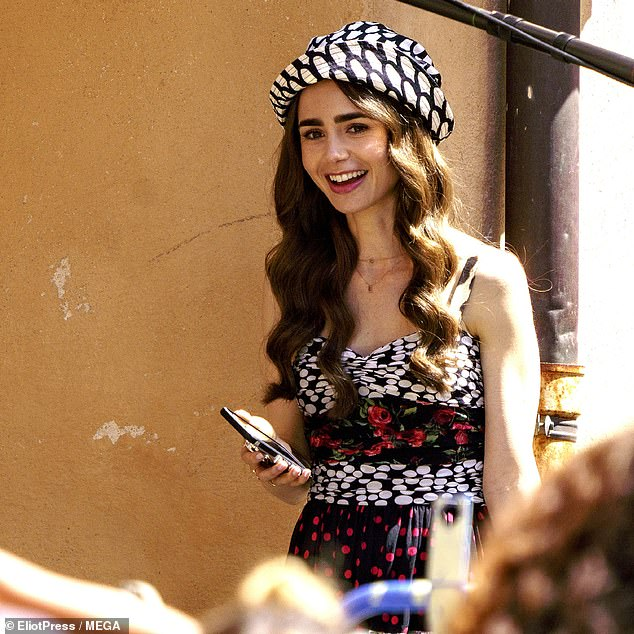 Optimistic: The actress was in a good mood as she slowed down on the Saint Tropez set between takes