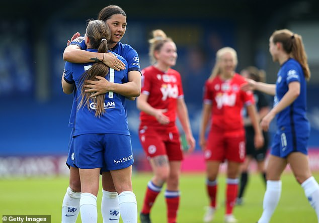 Fran Kirby (front left) and star forward Sam Kerr (back left) combined for three of the goals