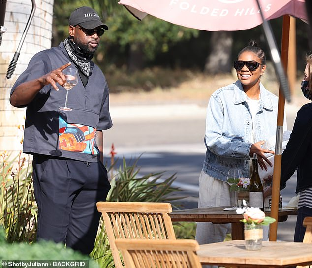 Happy couple: Gabrielle Union and Dwyane Wade were spotted enjoying a few glasses of wine at a Santa Barbara restaurant on Saturday