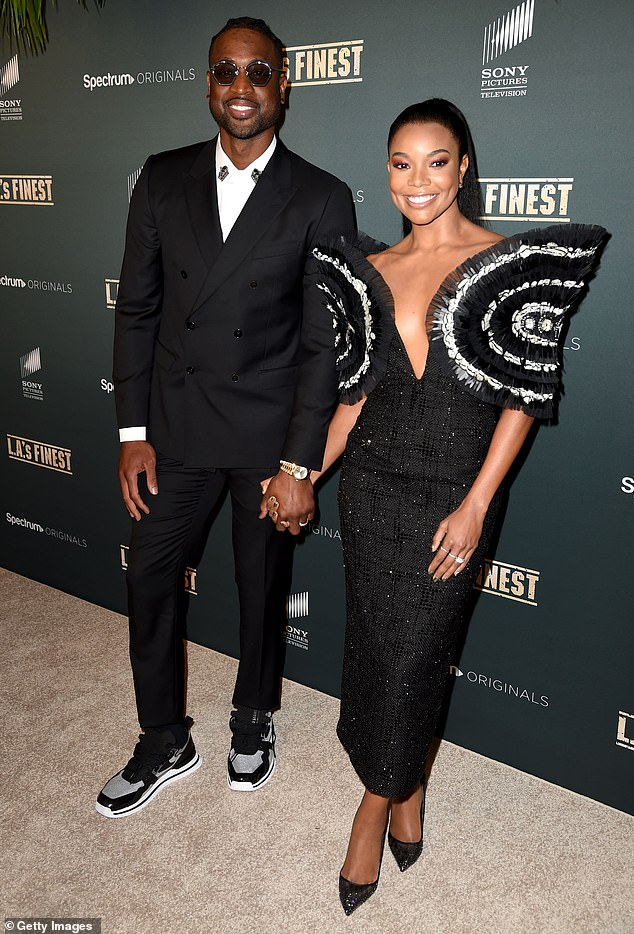 Big family: The former professional basketball player shares two children with his ex-wife, another child with a long-time friend and has full custody of one of his nephews;  he is seen with Union at the 2019 premiere of LA's Finest