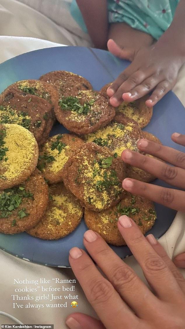 Yum: Kim shared an image of a plate of 'ramen cookies'