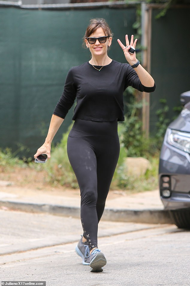 Hitting the gym: Jennifer Garner, 49, showcased her impressive figure when she was spotted in sportswear in Los Angeles on Sunday after spending Mother's Day with her daughter Seraphina