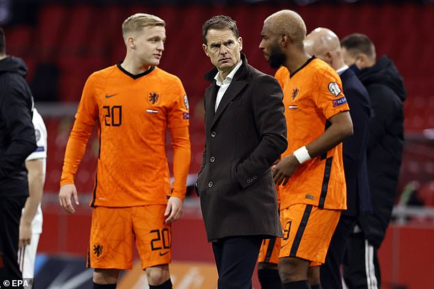The Holland boss (centre) admits he is hopeful Van Dijk has made giant steps in his rehab