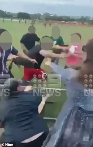 The shocking melee took place at the match between Wynnum Manly and Logan Brothers in Brisbane on Sunday