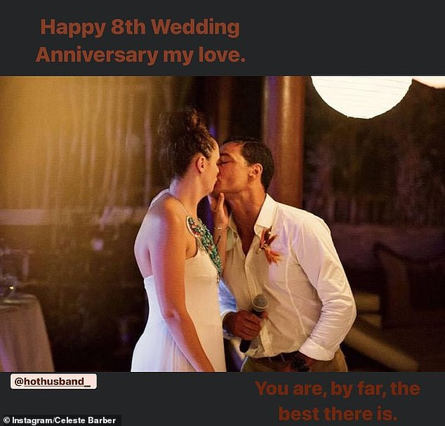 'Happy wedding anniversary my love':The comedian posted a photo of her and Api on their wedding day to Instagram, as she professed her love for him