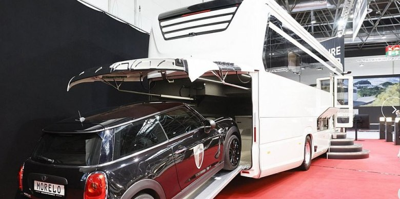 The German-made Morelo Grand Empire is built on the large-format truck chassis from a Mercedes-Benz. Along with a home on wheels, it offers an onboard garage large enough to house a Mini Cooper