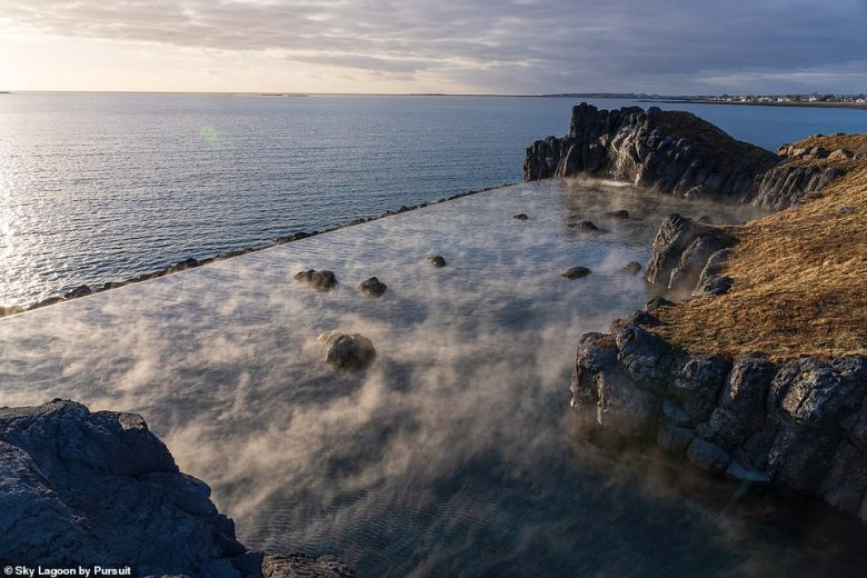 A stunning new geothermal lagoon has opened on the outskirts of Reykjavik with a 246ft- (75m) long 'infinity edge'