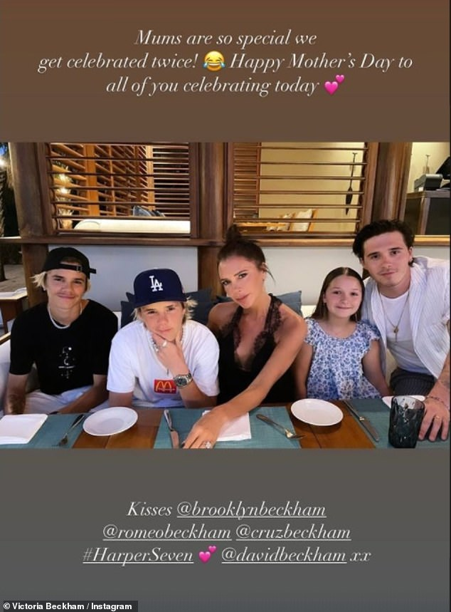 Family: On Mother's Day Victoria shared a heartwarming throwback with her four children (L-R) Romeo, Cruz, Harper and Brooklyn as she marked the US holiday