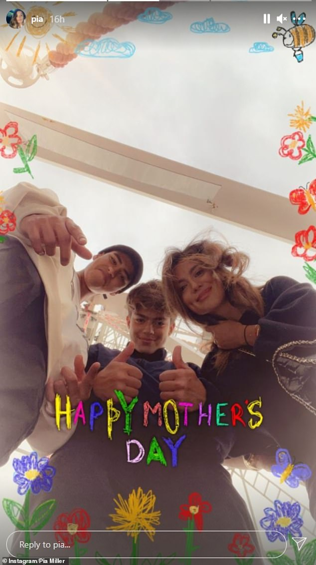 Her two other men!Pia first shared a photo of herself and the two boys at the Darling Harbour Ferris wheel with the family smiling. Lennox was giving the thumbs up
