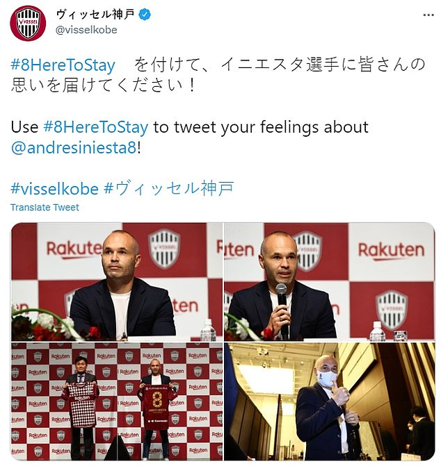 Vissel proudly showed off Iniesta on social media after tying the Barcelona legend down