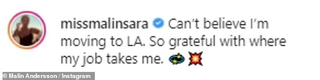 On the move!Captioning her post, she penned: 'Can¿t believe I¿m moving to LA. So grateful with where my job takes me'
