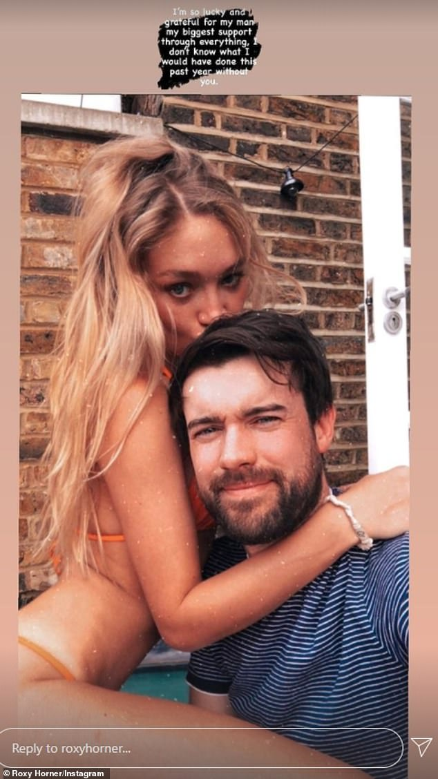 Grateful: Before revealing news of her discharge, Roxy shared a loved-up picture with Jack and gushed: 'I'm so lucky and grateful for my man'