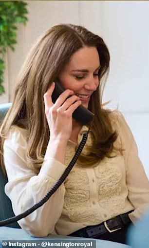 Kate, 39, was pictured clutching a black-corded landline phone to her ear as she chatted with the finalists beside a window at her London home, Kensington Palace.