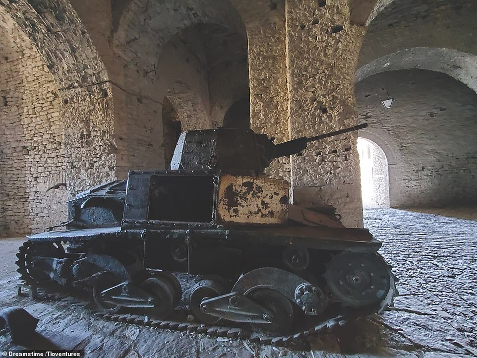 L6/40 TANK, GJIROKASTER, ALBANIA: 'The L6/40 light tank was an Italian armoured vehicle that saw combat service in the Balkans, the Soviet Union, North Africa and the Italian campaign,' the book reveals. 'The vehicle here is one of only three surviving L6/40s and is located in the Gjirokaster Fortress in Albania, a fortress that dates back to the 12th century'