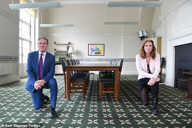 Sir Keir and Ms Rayner (pictured taking the knee together) have been trying to paper over their differences