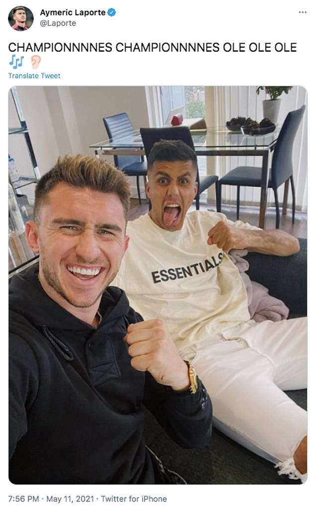 City defensive duo Aymeric Laporte (left) and Rodri (right) watched United's defeat at home