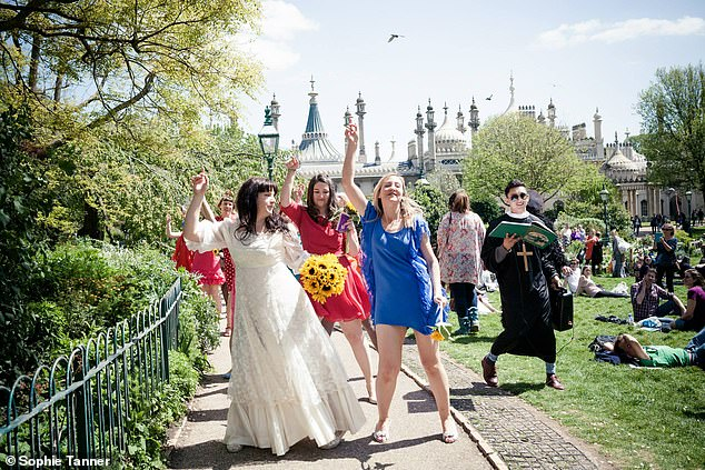 Sophie said she's stopped explaining why she hasn't 'settled down' and found empowerment in the six years since her wedding. Pictured: Dancing to her wedding with friends in 2015