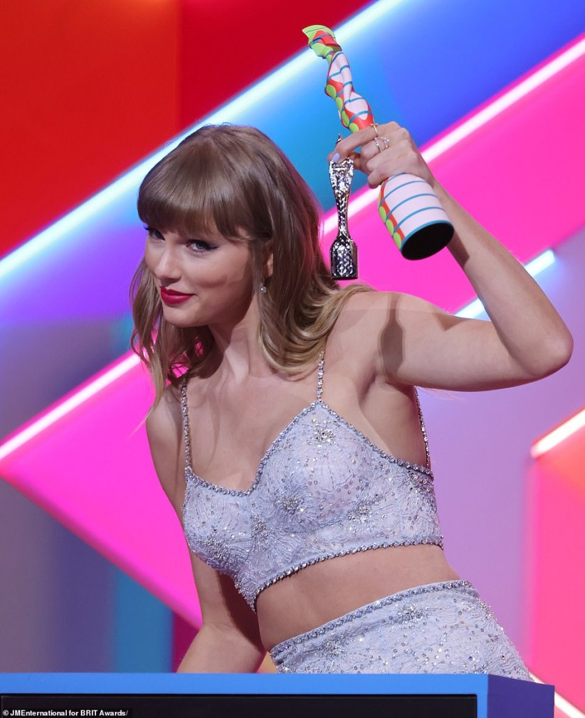 Here she is!Taylor Swift also made history at the end of the evening as she accepted the Global Icon Award, the first time in history a female artist had been presented with the honour
