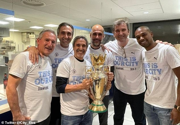 Pep Guardiola's (centre right) Man City are champions after rivals United lost to Leicester City