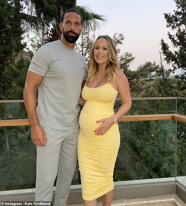 Loved: The exercise guru started a relationship with footballer Rio in 2017 and they tied the knot two years later (pictured during her pregnancy)