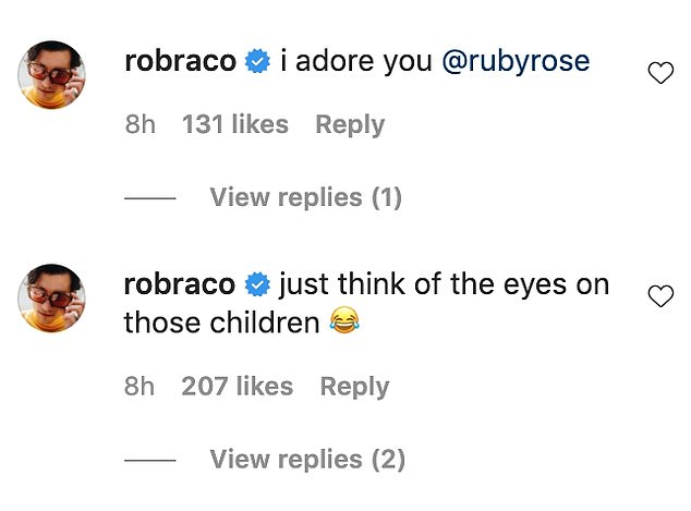 Affectionate: Rob quickly responded, writing in a comment beneath the post: 'I adore you.' 'Just think of the eyes on those children,' he wrote in a subsequent comment, adding a laughing/crying emoji