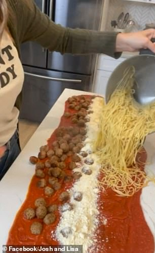 Pictured right,the spaghetti being added to the unique creation