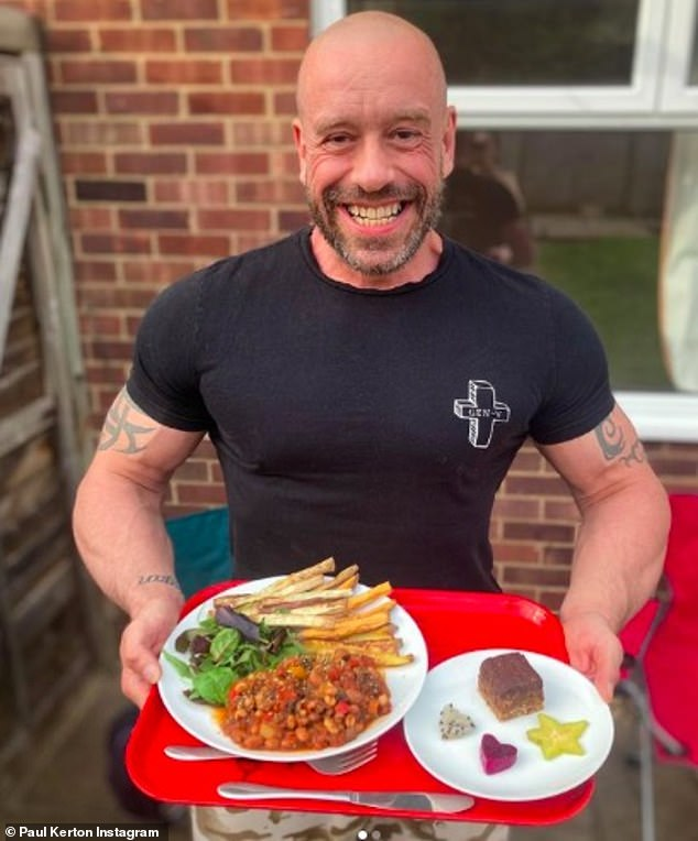 Paul Kerton, a vegan bodybuilder who knows members of the Forces said: 'It can potentially be more difficult when on manoeuvres so it does sound as though more needs to be done, at least in some circumstances'