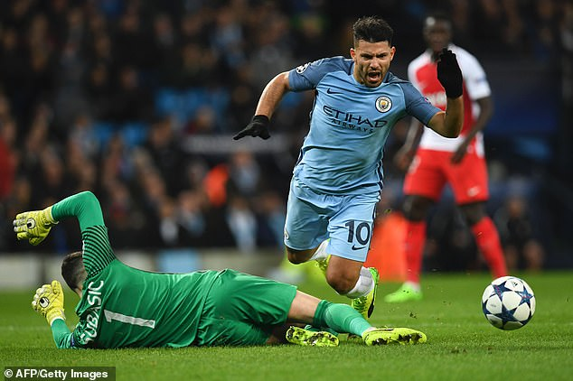 Lahoz booked Sergio Aguero for diving as City were defeated by the Ligue 1 side in 2017