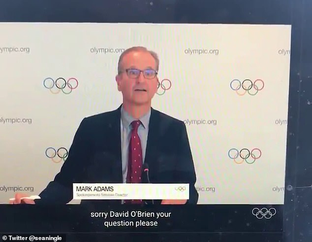 Spokesperson Mark Adams was in charge of an IOC press briefing hijacked by a protestor