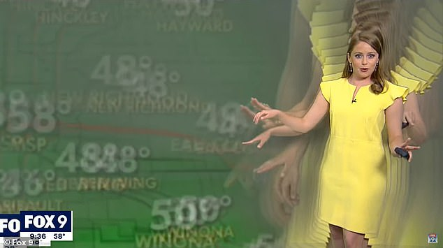 FOX 9 meteorologist Jennifer McDermed (pictured) was confused when multiple versions of her appeared on the green screen behind her during a live forecast