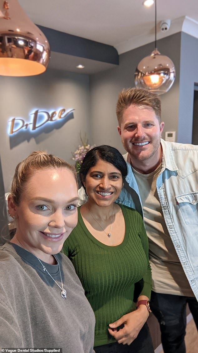 All smiles: Bryce's TV wife Melissa Rawson (left) also had her teeth whitened during their visit to Vogue Dental Studios in Melbourne. Pictured middle:Dr. Betty Matthews