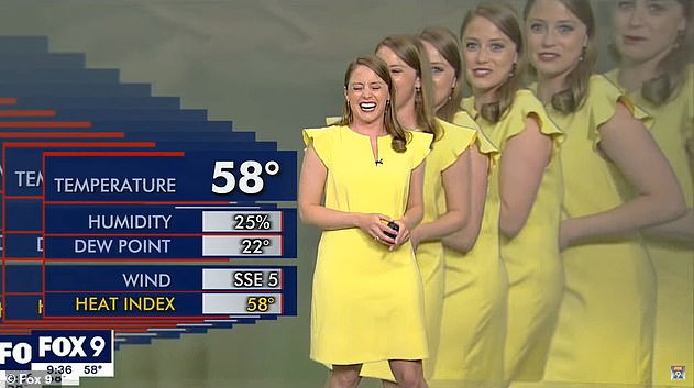 FOX 9 meteorologist Jennifer McDermed (pictured) broke into a fit of giggles during the green screen blunder