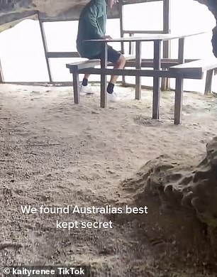 Katie Tuffery, 28, and her boyfriend spent two hours trying to find the hidden spot nestled between rocks on the cliffside of Jervis Bay, in New South Wales' south coast