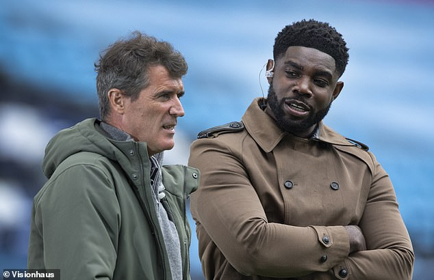 The former Aston Villa defender said he felt 'starstruck' after appearing alongside big names like Roy Keane (L) when he first linked up with Sky