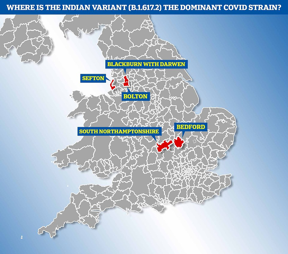 Analysis by one of Britain's biggest Covid sequencers has revealed that these areas are hotspots for the Indian variant