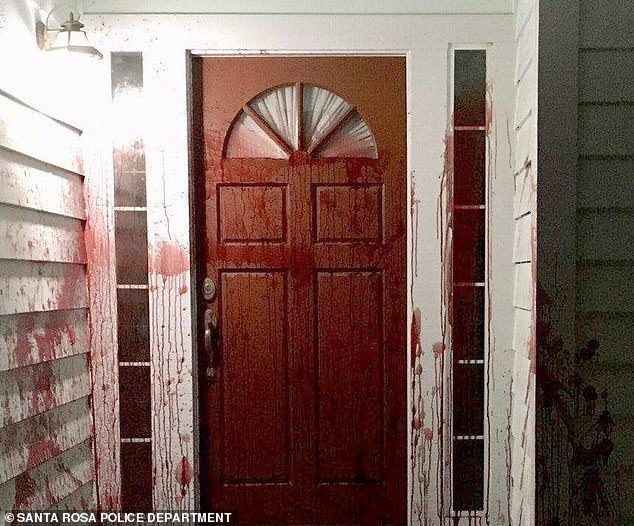 Police said the trio struck around 3 a.m. on April 17, smearing pig's blood on the front door and garage of Brodd's former residence in Santa Rosa, California