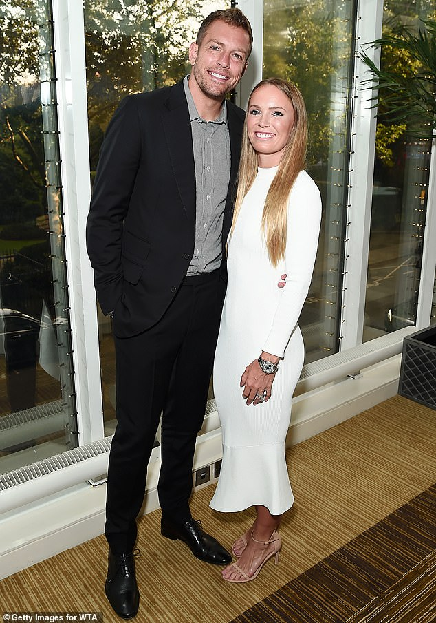 Expecting: Caroline appeared to be enjoying the final weeks of her pregnancy, as she and husband David Lee are expecting their first child next month; they are seen here in 2019