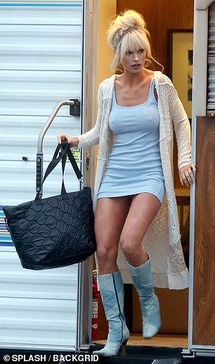 Baby blue: the actress was seen emulating another of Pammy's looks