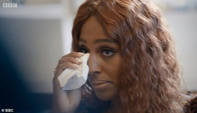 Emotional: Alexandra Burke broke down in tears as she recalled how she was once told to 'bleach her skin' in order to 'sell records'