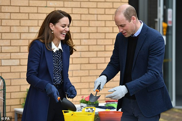 Business as usual? The Duke and Duchess of Cambridge laughed during a gardening session at The Way Youth Zone in Wolverhampton, England, on Thursday